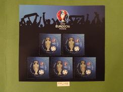 """FRANCE 2016 FOOTBALL BLOC FEUILLET 3D  """" UEFA EURO 2016  """" Comprenant 5 TIMBRES à 2,00 Euros Gommé - Fußball-Europameisterschaft (UEFA)"""