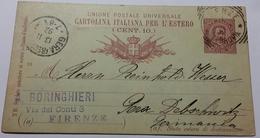 1892 INTERO POSTALE X ESTERO IMPERO TEDESCO DA FIRENZE  A GERA (178) - Interi Postali