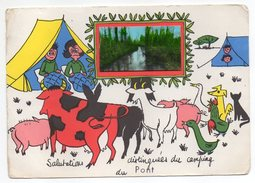 "Env  FRONTENAY ROHAN ROHAN--fantaisie""Salutations Du Camping Du PONT(oie,cochon,vache,chèvre) - Frontenay-Rohan-Rohan"