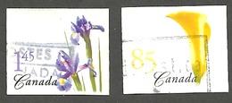 Sc. # 2081-82 Flower Yellow Calla Lily/Blue Iris Definitives Booklets 2004 Set Used  K172 - 1952-.... Règne D'Elizabeth II