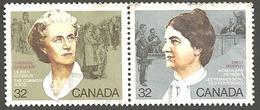 Sc. # 1047 & 48 Canadian Feminists Se Tenent Pr. 1985 Used  K173