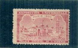 ERINNOPHILIE - Vignette Exposition Universelle PARIS 1900 - Non Gommé -  PALAIS OFFICIEL DE L'ALGERIE - - Commemorative Labels