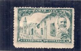 ERINNOPHILIE - Vignette Exposition Universelle PARIS 1900 - Non Gommé -  TUNISIE - - Autres