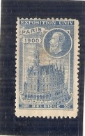 ERINNOPHILIE- Vignette Exposition Universelle PARIS 1900 - Non Gommé - BELGIQUE - Erinnophilie