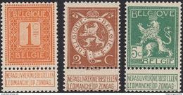 BELGIQUE Belgie - 1912 - Série Yvert 108/110 - 1c, 2c, 5c, Neufs Sans Trace De Charnière MNH