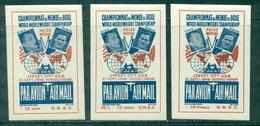 FRANCE 1948 Boxe MARCEL CERDAN / TONY ZALE Série Des 3 Vignettes Non Dentelées Neuves N Xx Rare - Commemorative Labels