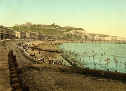 Royaume Uni Kent Douvres Dover Le Front De Mer Plage Falaises Ancienne Photo Photochrom 1900 - Lieux