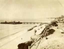 Royaume Uni Bournemouth Estacade Cabines De Plage Ancienne Photo 1890 - Photographs