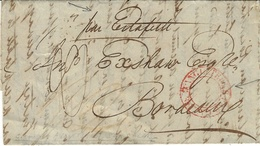 """1836- Lettre De Londres Pour Bordeaux-entrée """" ANGLETERRE / PAR CALAIS """" Ronde + """"par Estafette"""" Manuscrit - Marcofilia (sobres)"""