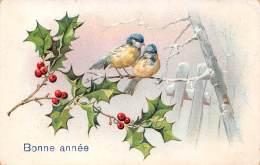 Bonne Année - Houx Noël Deux Oiseaux En Hiver - Détails Dorés - Nieuwjaar