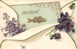 1er Avril - Poisson Lettre Violettes - Details Dorés D'or Carte Gaufrée - April Fool's Day
