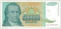 YUGOSLAVIA 500000 DINARA 1993 P-131 CIRC  [ YU131circ ] - Yugoslavia