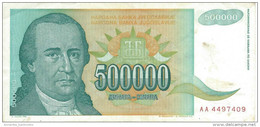 YUGOSLAVIA 500000 DINARA 1993 P-131 CIRC  [ YU131circ ] - Joegoslavië