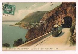 Route De Nice à Monaco - Le Tunnel De La Mala Et Le Cap D'Eze - Tramway - 1910 - - Eze