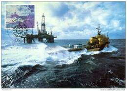 CM-Carte Maximum Card #1985-Norvège-Norway# Energie,energy #Off-shore Industry # Oil-plattform Odin Viking