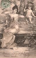 ILLUSTRATION UNE FEMME ET UN CHERUBIN CARTE PRECURSEUR - 1900-1949