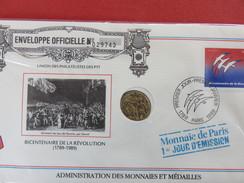 BICENTENAIRE De La REVOLUTION - Monnaie De Paris 1er Jour D'émission - 1989 Enveloppe Officielle Numérotée 029743 - Other