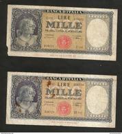 LOTTO Di N. 2  Banconote Da 1000 Lire ITALIA (Medusa) - (Firme: Einaudi / Urbini - Decr. 20/03/1947) - [ 2] 1946-… : Repubblica