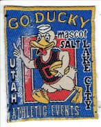 Badge En Tissu Go Ducky Mascot Salt Lake City Utah Athletic Events (format 5 X 6 Cm) - Athlétisme