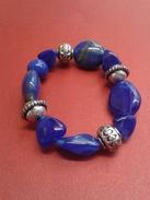 Bracelet Ancien De Pierres Bleu En Plaqué Argent - Diamétre 7x7 - Bracelets