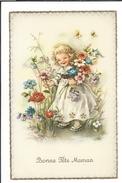 16705 - Bonne Fête Maman Fillette Et Bouquet De Fleurs - Fête Des Mères