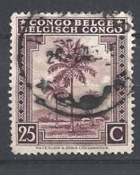 "CONGO BELGA   -1942 Inscription: ""CONGO BELGE - BELGISCH CONGO""   USED Palms, Natives, Leopard - Belgian Congo"