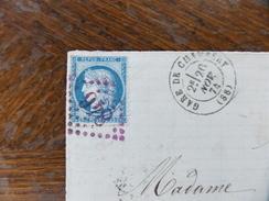 Lot Du 04.05.17_ GF Variété Sur N°60 ,rare Cachet Violet  GC 846 Gare De Chambéry,  A Voir! - 1849-1876: Période Classique
