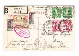 In Bern Eingeschriebene AK Mit Kehrdrücke Und Sonderstempel Deutsche Seepost Bitte Lesen - Suisse