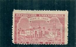 ERINNOPHILIE - Vignette Exposition Universelle PARIS 1900 - Non Gommée - Palais Officiel De L'Algérie - Erinofilia