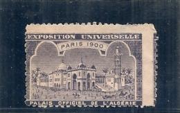 ERINNOPHILIE - Vignette Exposition Universelle PARIS 1900 - Non Gommée - Palais Officiel De L'Algérie - - Erinnophilie