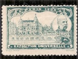 ERINNOPHILIE - Vignette Exposition Universelle PARIS 1900 - Non Gommée - AUTRICHE - Erinnophilie