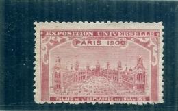 ERINNOPHILIE - Vignette Exposition Universelle PARIS 1900 - Non Gommée -   PALAIS DE L'ESPLANADE DES INVALIDES -rare - Autres