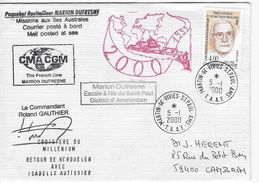 T.A.A.F Enveloppe Marion Dufresne CMA CGTM Escale à L'Ile De Saint Paul - Lettres & Documents