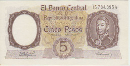 Argentina 5 Peso 1960-62 Pick 275a XF - Argentinië