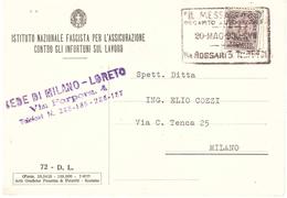 CENT.10 RECAPITO AUTORIZZATO ISTITUTO NAZIONALE FASCISTA SEDE DI LORETO - 1900-44 Victor Emmanuel III