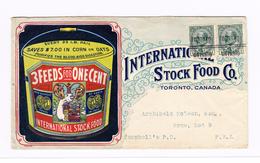 "Kanada ~1910 Illustrierter Kuvert ""International Stock Food Co /Our New Toronto Factory Mit K.Edw VII Paar 1d - 1903-1908 Edward VII"