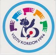 Visit Korea 1994 With Text In Esperanto - Vizitu Koreion 1994 - Flags - Drum - Stickers