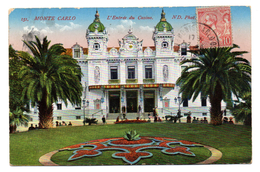 Tarjeta Postal  Circulada 1913. Montecarlo. L'entree Du Casino. - Monte-Carlo