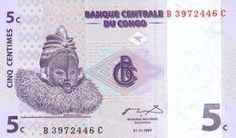 CONGO DEMOCRATIC REPUBLIC 5 CENTIMES 1997 P-81 UNC [ CD302a ] - Congo