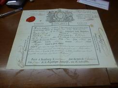 Révolution Congé Absolu Armée Du Rhin Laley Volontaire Tulle 9 Thermidor An II Strasbourg Sceaux Autographes - Documents