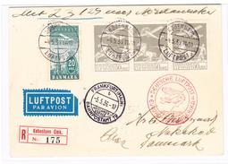 Zeppelin Dänemark Zuleitungspost 4.5.1936 Kobenhavn R-Karte Nordamerika-fahrt Via Frankfurt,New-York Und Retour Nakskov - Airmail