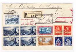Schweiz Zürich 15.12.1929 Ad Astra-Afrikaflug R-Brief Nach Nairobi Und Zurück Mit U.a. #227 Sonnenschein, 229 4er-Block - Suisse