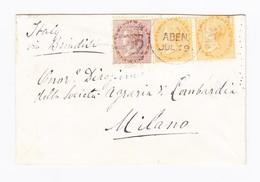 GB Kolonie Indien Aden Jul 69 Brief Mit 1 A. Und Waagr. Paar 2 A. Nach Milano - Inde (...-1947)