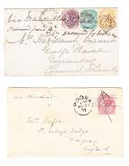 GB Kolonie Indien 2 Briefe 1867/71 Aus POONA Nach Guernsey Und Torquay - Inde (...-1947)