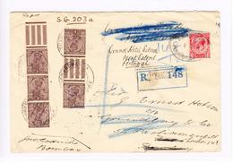 GB Kolonie Indien R-Brief Bombay 6.3.1933 Mit 5 SG#203a Nach London Weiter Mit 1p Stempel Parliament Nach Portugal - Inde (...-1947)