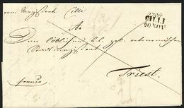 Vorphila CILLI ,SCHWARZ, 20.NOV, 1843 NACH TRIEST - Slovenia