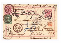JAPAN  1892 GS Karte 10Pf Von Görlitz Nach Tokyo Mit Taxstempel YOT Nachgesendet Mit 1S Und 2s - Japan