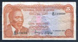 506-Kenya Billet De 5 Shillings 1975 B52 - Kenia