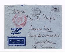 Ungarn 1936 Bedarf Luftpostbrief Mit Rücks. Frankatur Budapest 4.8.1936 Nach Argentinien Via Berlin
