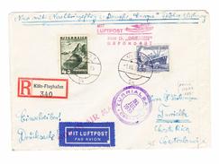 """DR 1938 Mit Nachbringeflug Zum Dampfer """"Bremen""""  Befördert Katapult R-Brief AT+DR MiF Von Wien über Köln Nach Costa Rica - Poste Aérienne"""